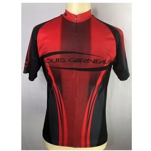 Louis Garneau Red Black  1/2 Zip Cycling Shirt
